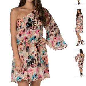 Elaine Cream One Shoulder Satin Dress by Tolani